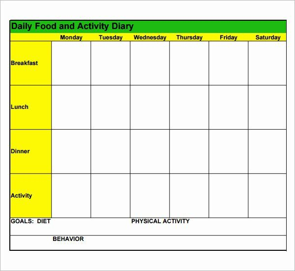 Food Diary Template Word In 2020 Food Diary Template