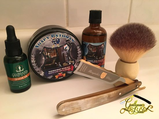 "Pre-shave: Clubman Pinaud Shave Oil Shaving soap: Soapy Bathman Barbershop Quartet Aftershave: Soapy Bathman Barbershop Quartet splash Straight razor: Dovo Bergischer Löwe (new) Shaving brush: Plisson La Maison du Barbier ""Brush of the gods"" synthetic (new) Straight razor honing: Ozuku Mizu Asagi Lv 5.5 Jnat finish"