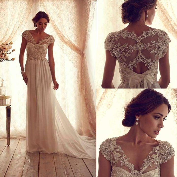Elegant See Through Beading Corset Chiffon anna campbell Wedding Dress Cap Sleeve V Neck Bridal Gowns vestidos de novia 2014 $179.99
