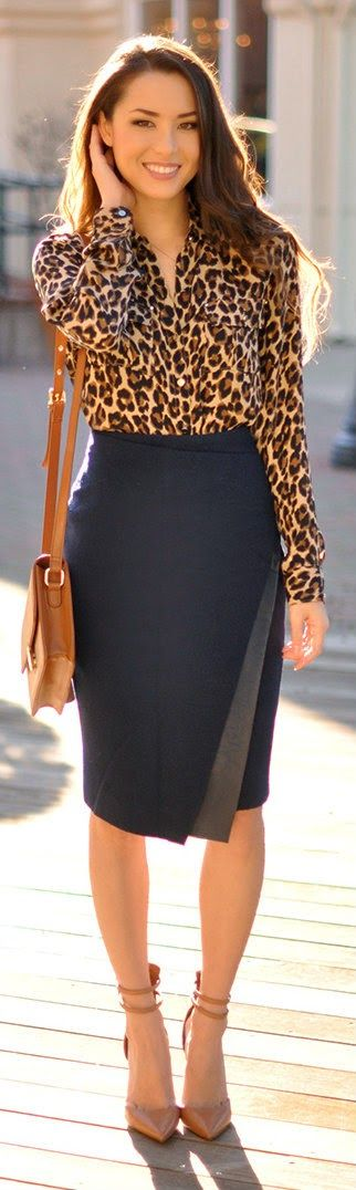 Animal Print Long Sleeve Surplice Blouse with Navy Asymmetrical Bodycon Woolen Skirt