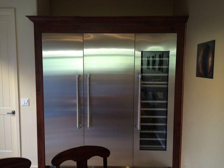 built in industrial freezer and wine fridge