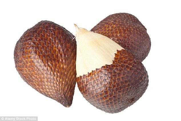 Snake fruit lives up to its name with its rough, scaly skin. About the size and…