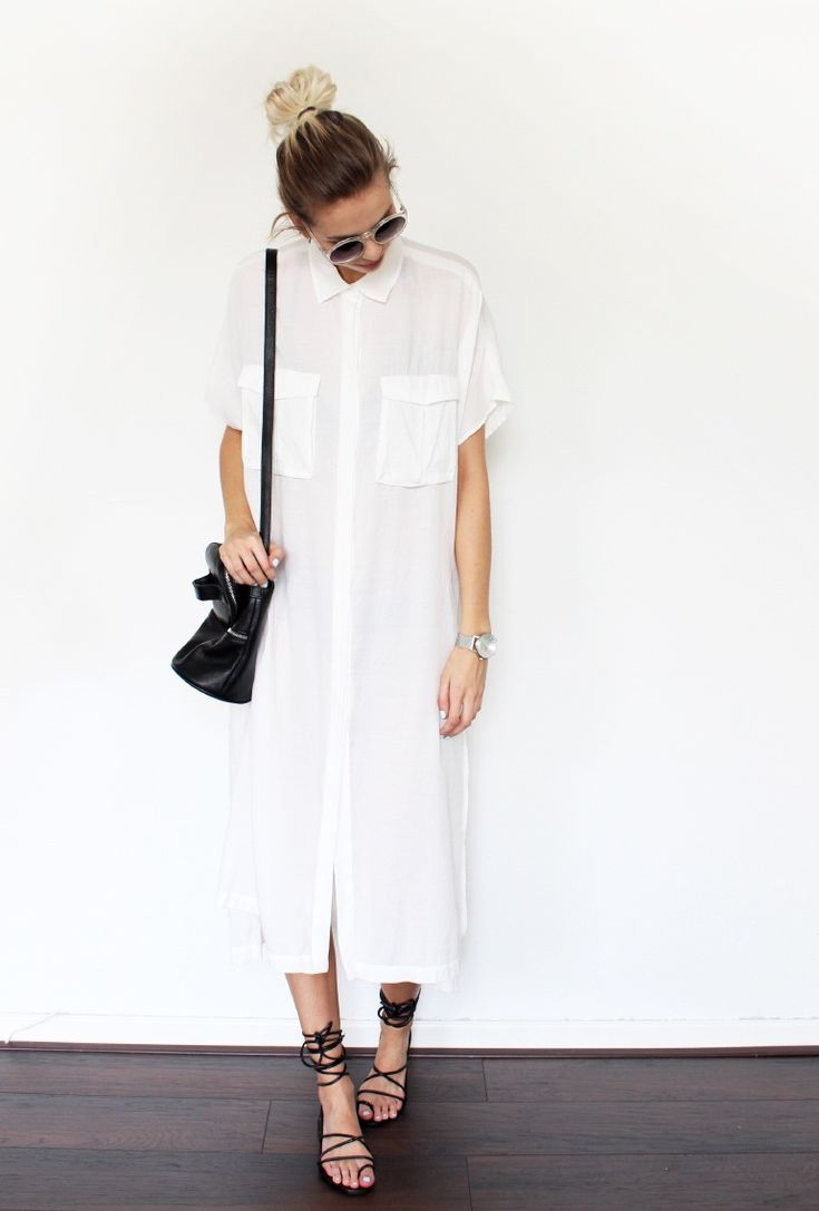Maxi shirt dress in white