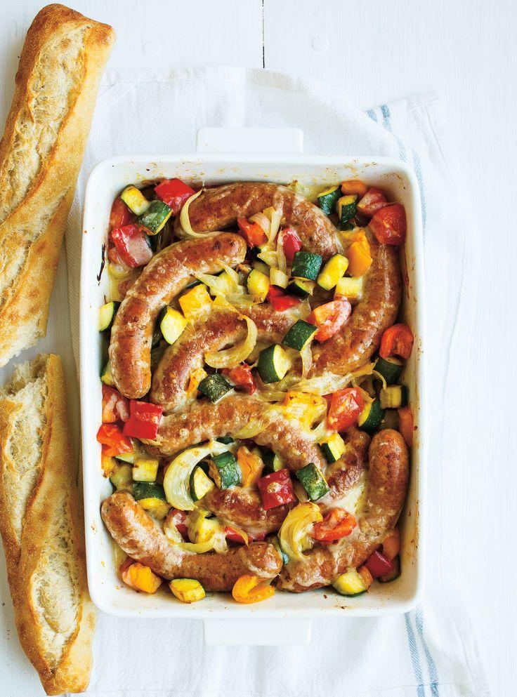 Casserole de saucisses à la ratatouille  #ratatouille #saucisse #légumes #ricardo