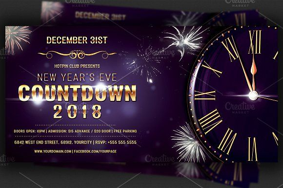 Nye Countdown Party Flyer Template by Hotpin on @creativemarket