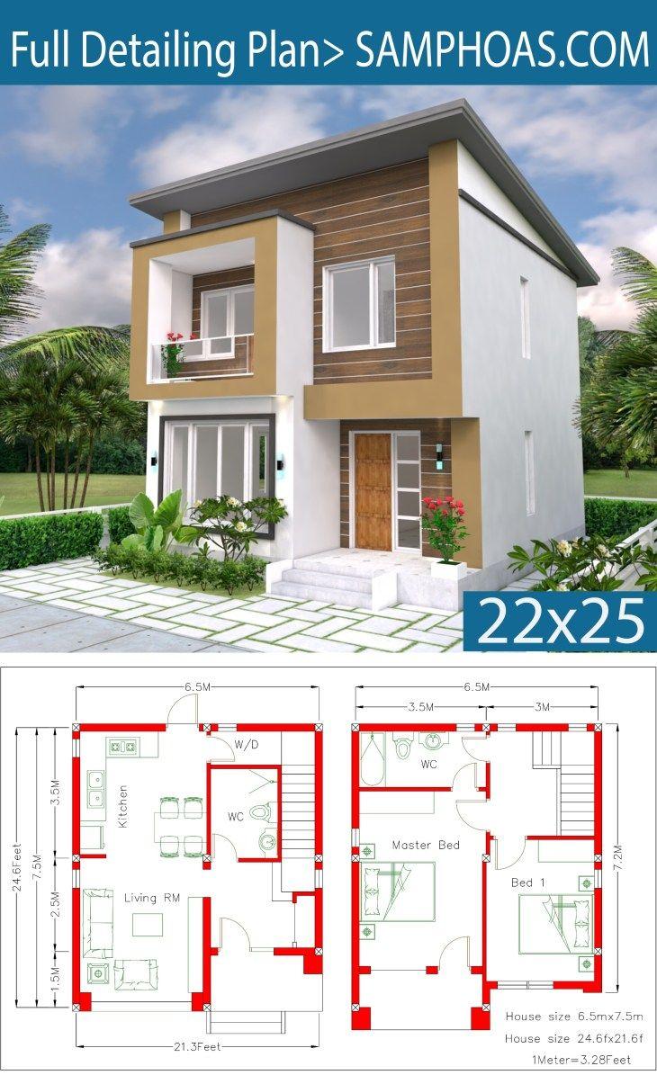 Home Design Plan 6 5x7 5m 2 Bedrooms A2 Samphoas Com