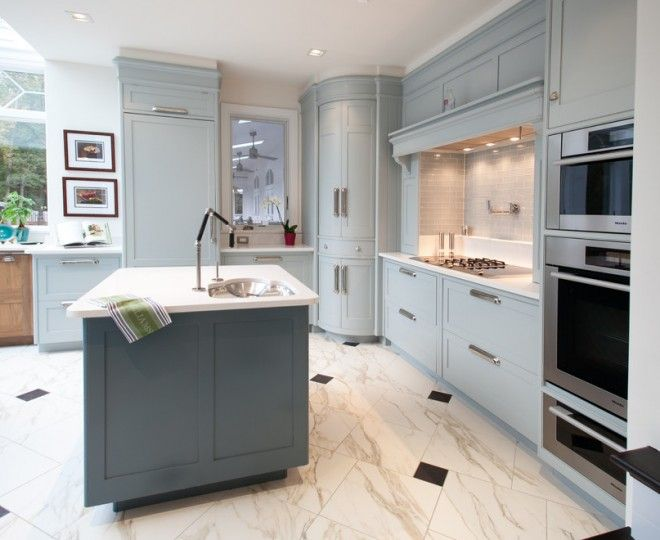 Chic Corner Pantry  mode Dc Metro Contemporary Kitchen Innovative Designs with  blue cabinets bow-front cabinets cup drawer pulls gray cabinets gray tile backsplash integrated refrigerator