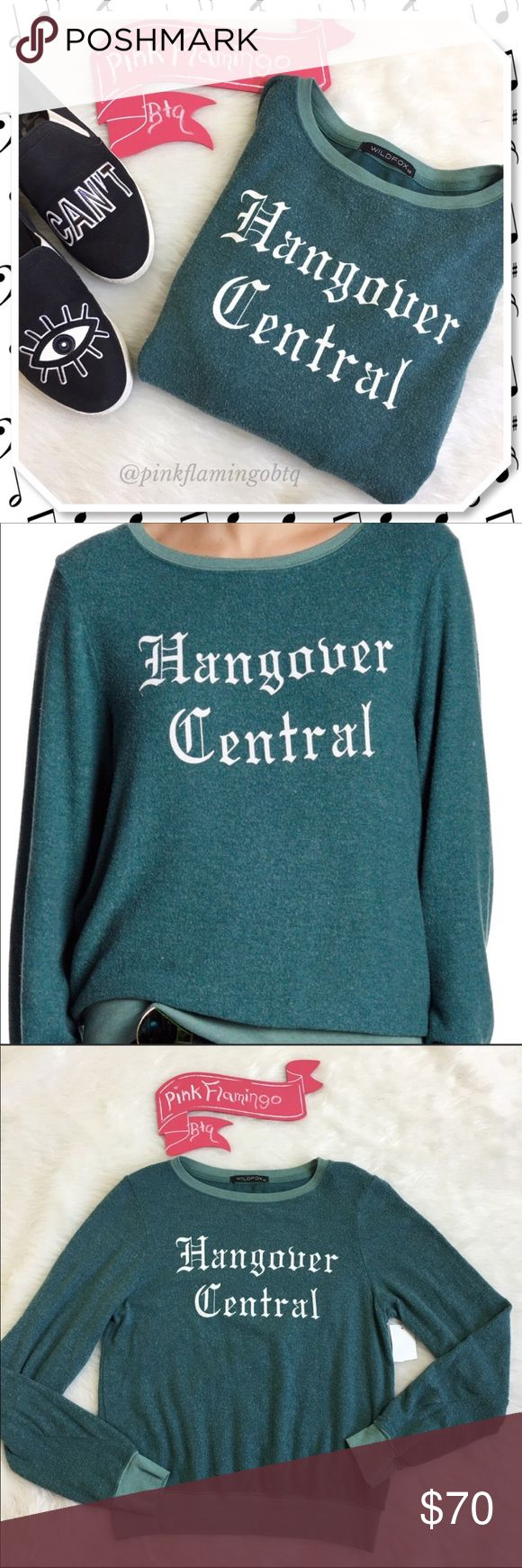 NWT Wildfox Hangover Baggy Beach Jumper Sweatshirt NWT Wildfox Hangover Central soft beach jumper sweatshirt. Bring on the Aspirin and greasy food this fuzzy sweatshirt in Wildfox's signature inside out soft fuzzy jumper feel. Perfect lazy Sunday outfit! ⚡Sam Edelman eye can't shoes not for sale⚡ P285 Wildfox Tops Sweatshirts & Hoodies