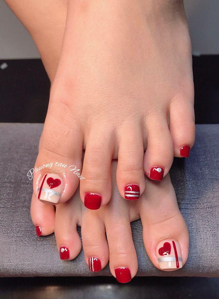 Rojo cuidalas en 2019 u as pies u as decoradas - Unas de pies decoradas ...