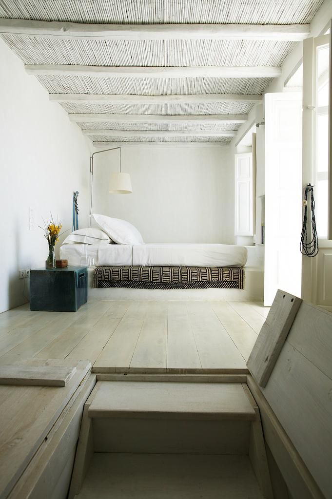 calm space and minimalist furniture for the bedroom. Greek Island. Remodelista