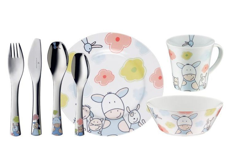 Zestaw porcelany i sztućców - Farmily - DECO Salon #auerhahn #cutlery #designforkids #kids #kitchenaccessories #kidsaccessories