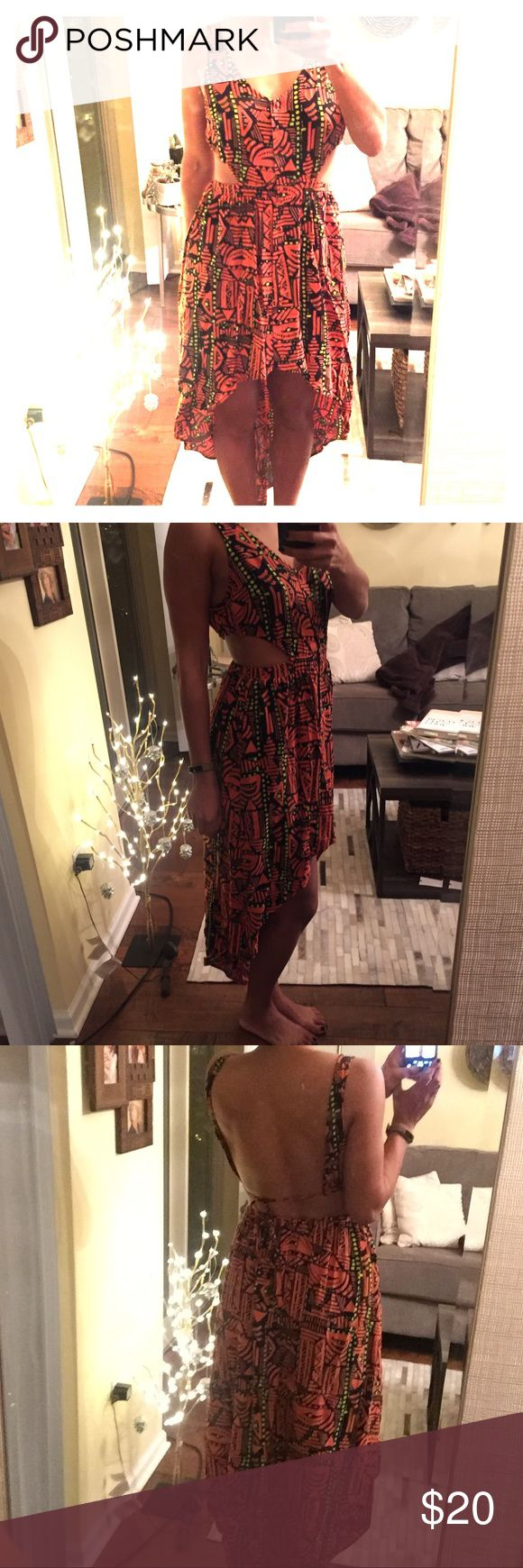 High low cutout print dress-great for festivals! High low tribal print dress. Sexy, comfortable, great for summer festivals! Huntingbird (Urban Outfitters) Dresses High Low