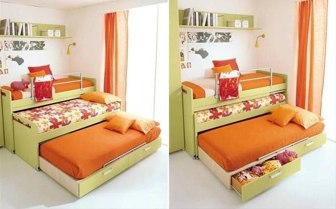 Sharing a room with two other people? This is where a trundle bed (with storage!) comes in handy. (Photo from amazinginteriordesign.com)