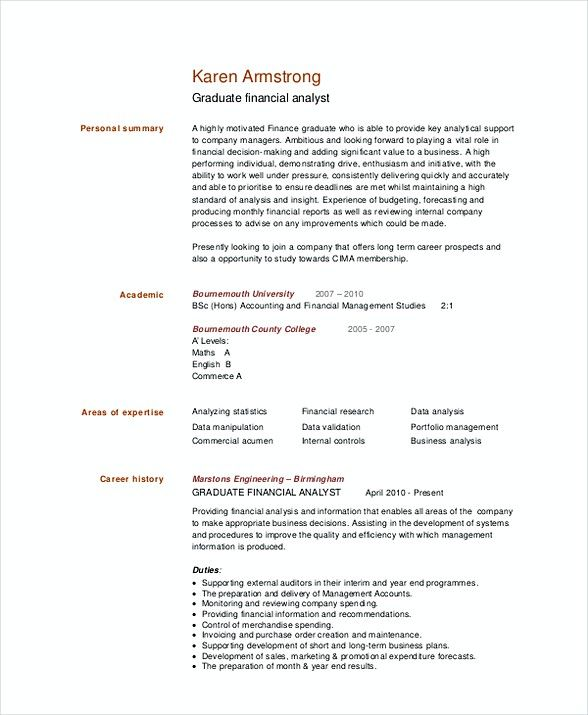 Graduate Financial Analyst Resume Template , Financial Analyst - Data Analysis Report Template