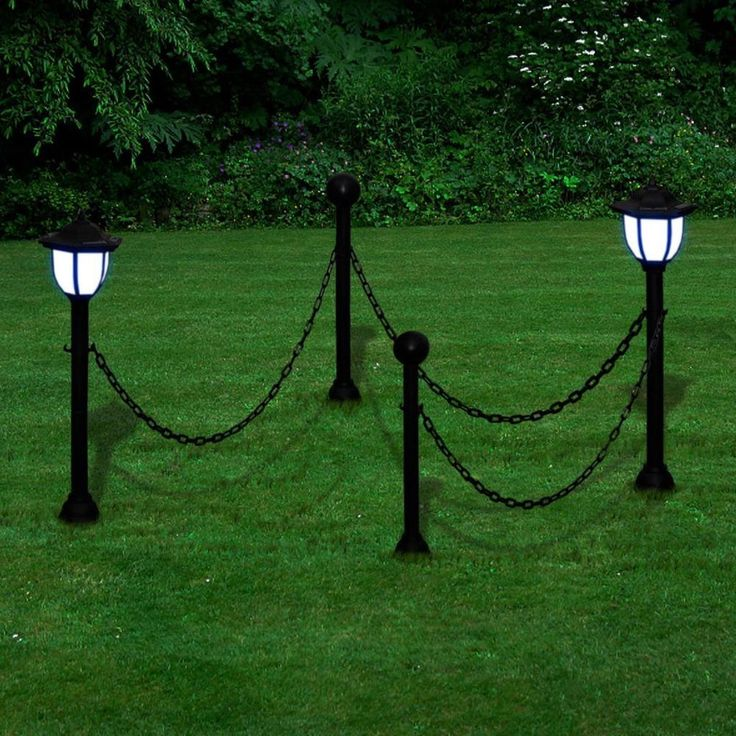 Patio Home Lighting Outdoors Garden Chain Fence Solar Lights Two Lamps Two Poles #PatioHomeLighting