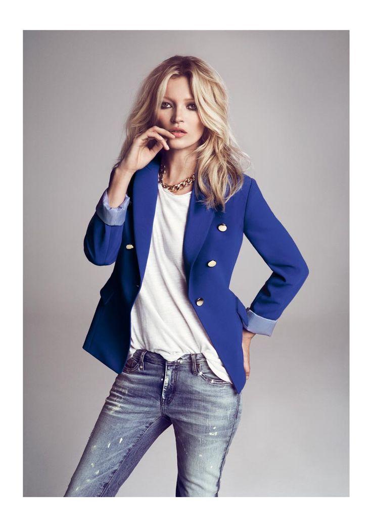 .Light Pink Blazers, Fashion, Style, Blue Blazers, Blazers Jeans, Mango, Katemoss, Electric Blue, Kate Moss