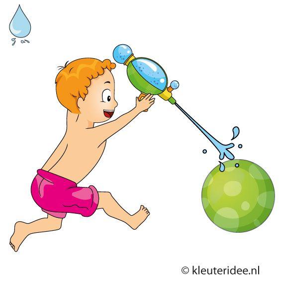 Waterspelletjes voor kleuters, spel 14, spuitbal, kleuteridee
