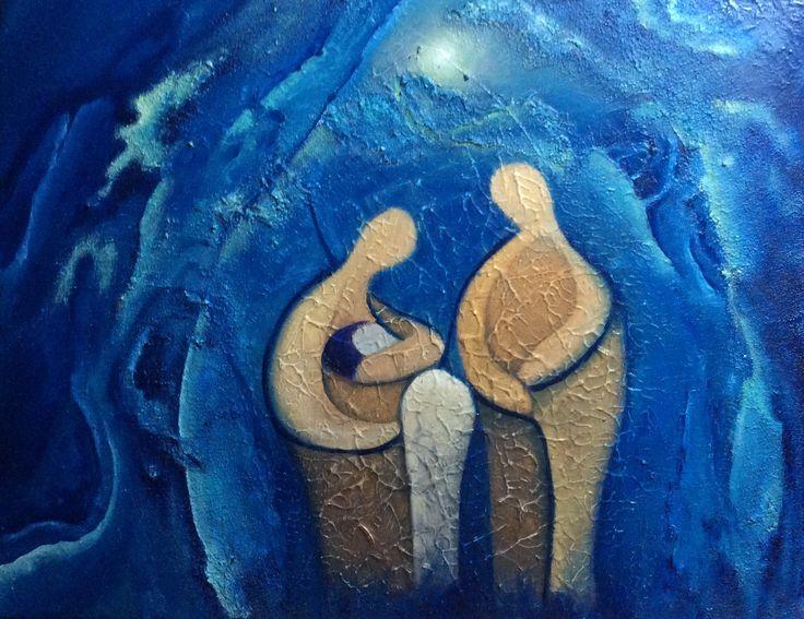 Olieverf schilderij gemaakt door Els van der Lugt 18-04-2016  Titel: verbondenheid