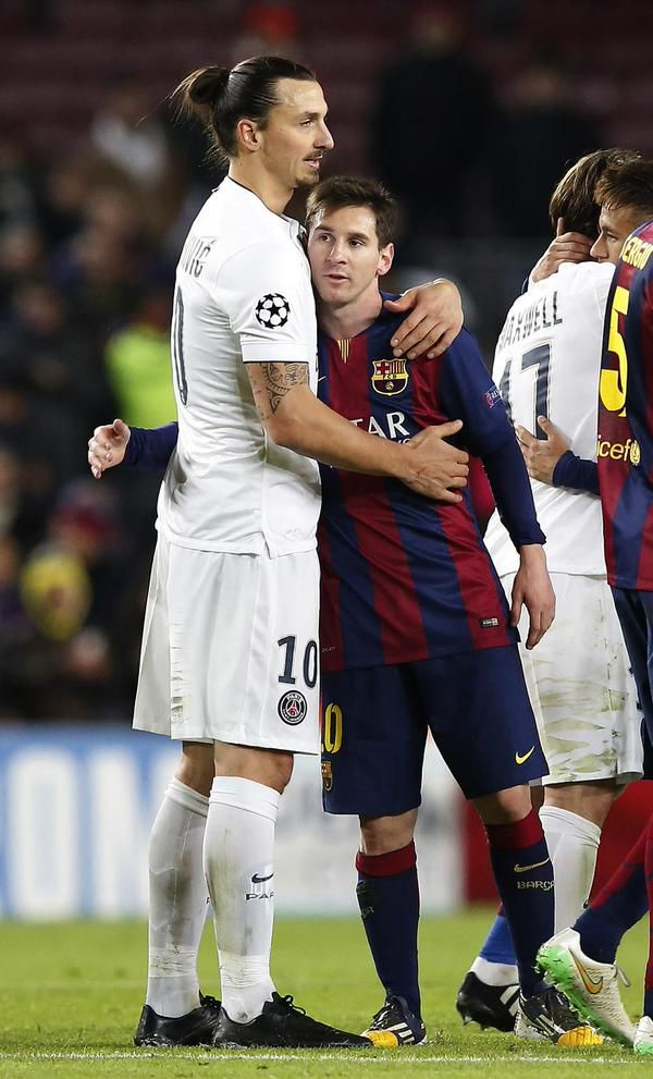 Ibra and Messi after game's end. | FC Barcelona 3 - PSG 1, Champions League group stage final match, 10 December 2014, Barca wins group. Barca Goals: Messi, Neymar and Suarez