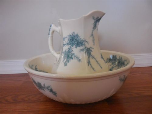 Wedgwood Gorse creamware HUGE bowl and pitcher set circa 1880, wedgwoodlady.com