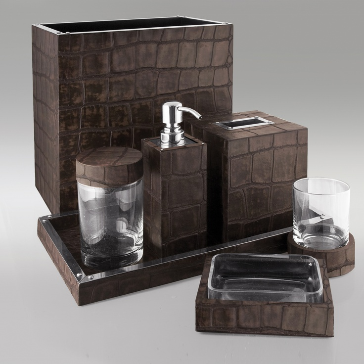 bathroom sets luxury designer chocolate crocodile leather bath set one ofu2026