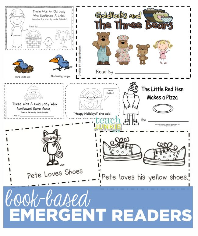 I love these free printable emergent readers for kindergarten. These are easy readers based on classic children's books. 52 Emergent Readers for All Year Long