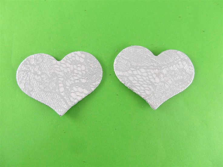 Leather embossed white/silver hearts 55mm (2 pcs) DIY cut leather flowers Craft supplies Jewelry materials Leather pieces
