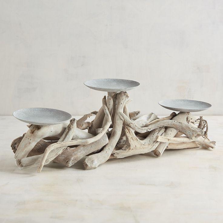 Gray Driftwood Centerpiece Candle Holder