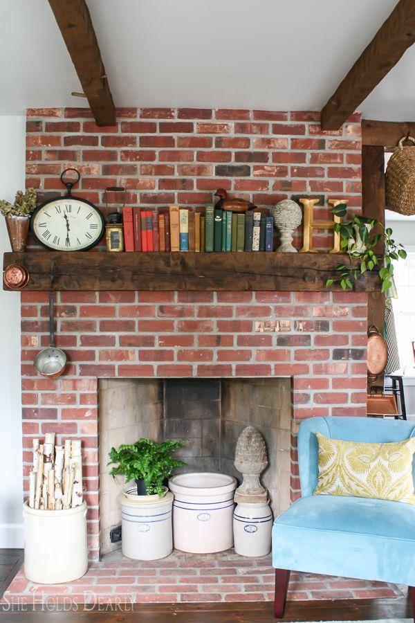 1800 S Home Tour Brick Fireplace By Sheholdsdearly Com Brick Fireplace Decor 1800s Home Red Brick Fireplaces