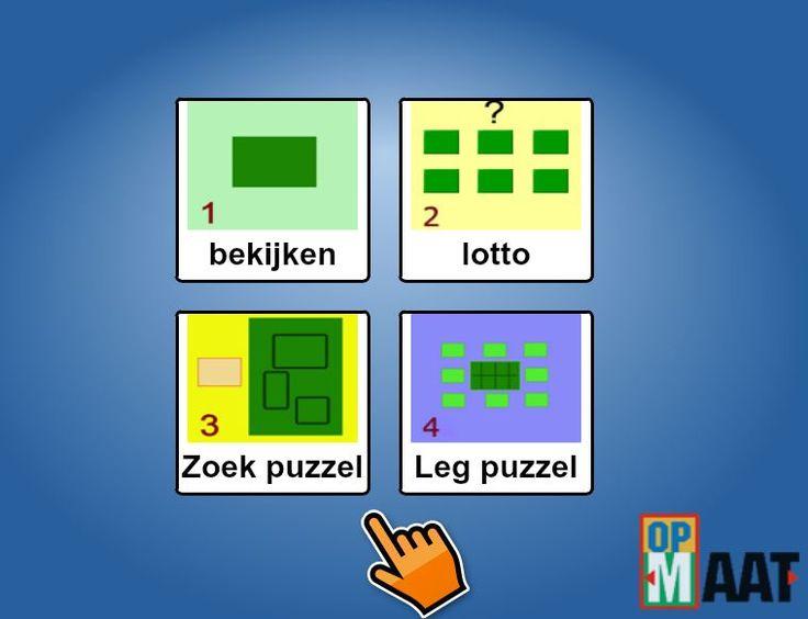 http://opmaat-eduware.nl/?p=1584  BIJ MIJ THUIS: een oefening om kennis te maken met de verschillende kamers van een huis. Bij elke kamer horen specifieke voorwerpen: in de woonkamer vind je een bank, een salontafel, een kast, in de badkamer vindt je