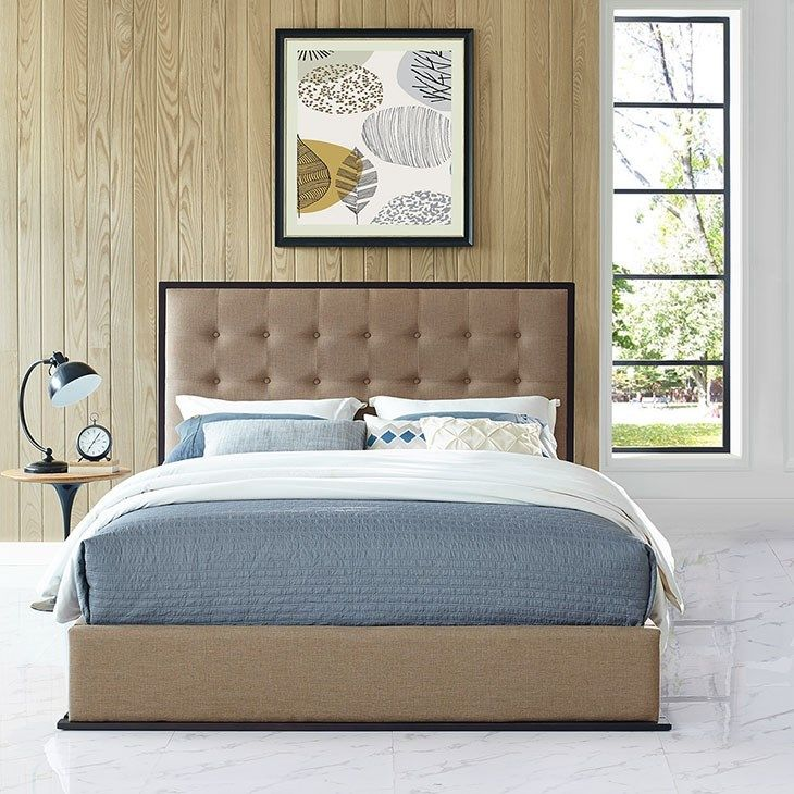 Madeline Queen Upholstered Bed Frame in Cappuccino Café