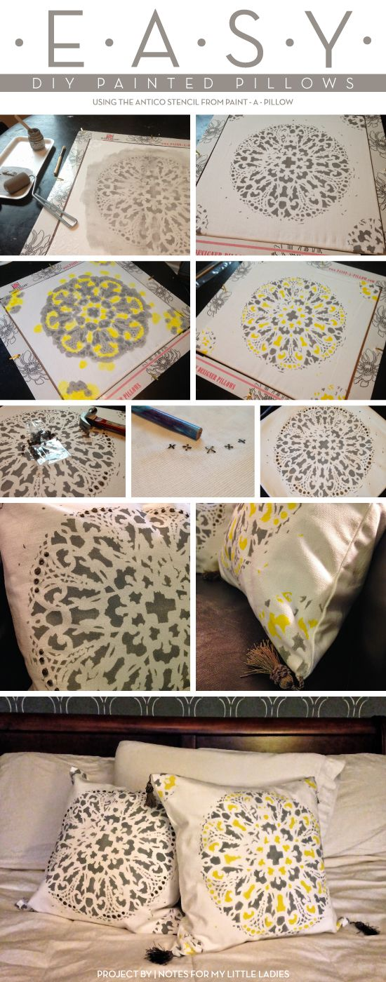 Cutting Edge Stencils shares DIY painted pillows using the Antico Paint-A-Pillow kit. http://paintapillow.com/index.php/antico-paint-a-pillow-kit.html