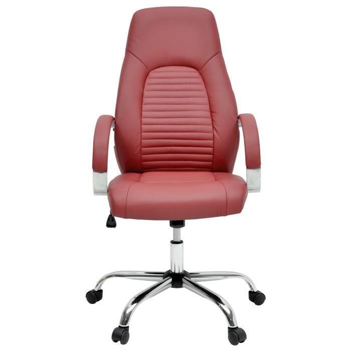 Flat Chaise De Bureau Simili Rouge Bordeaux Style Industriel