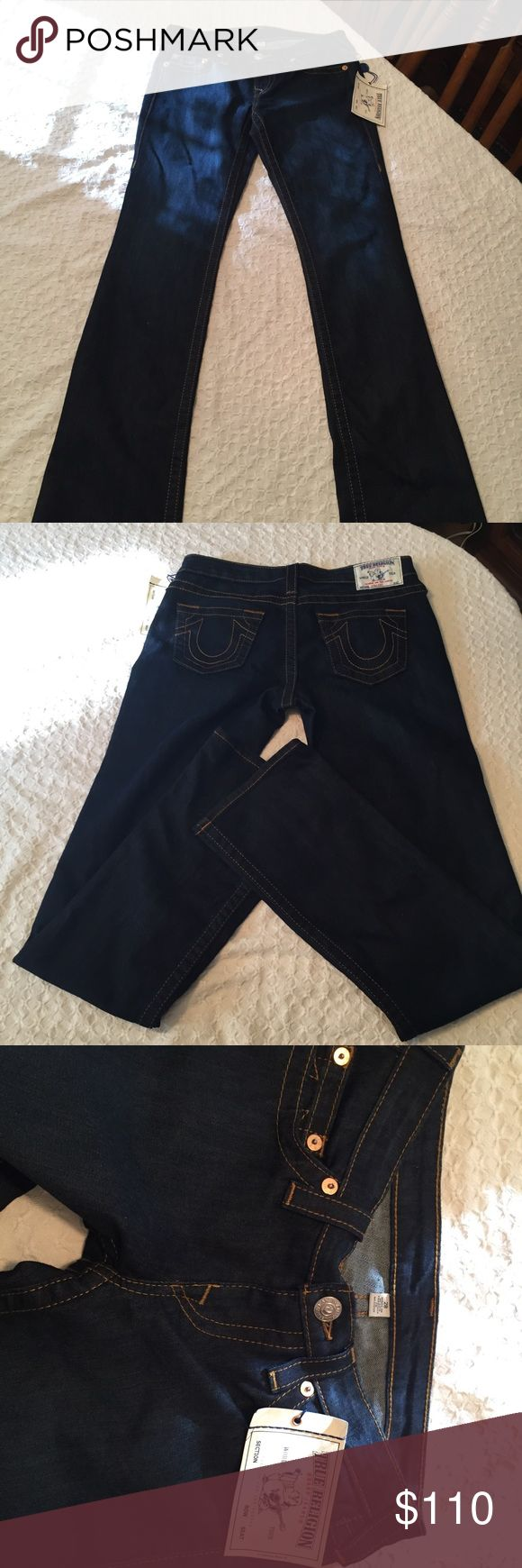 NWT True Religion Jeans 👖 100% AUTHENTIC True Religion Women's Jeans. Brand NEW with tags included. Dark wash. Lonestar Straight Jeans. Size 28. Materials: 74% cotton, 25% polyester & 1% spandex. Made in Mexico. True Religion Jeans Straight Leg