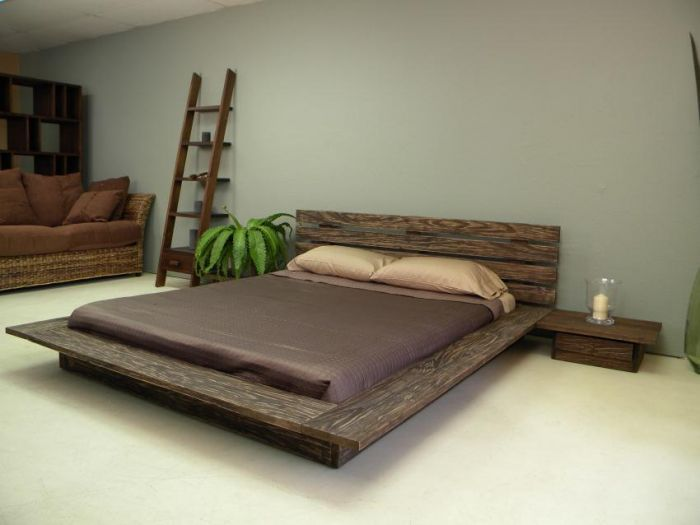 Minimalist Modern Style Wooden Bed Designs Rustic Accents Rattan Sofa  Ladder Storage