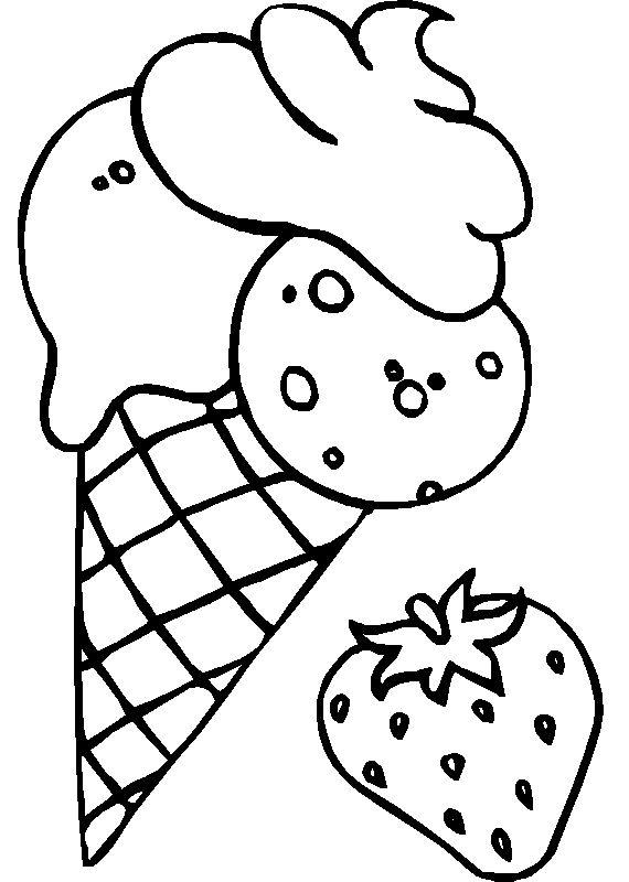 Strawberry Ice Cream Mix Coloring For Kids