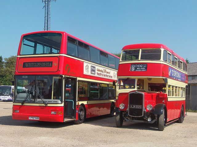 19th May 2014 - To celebrate 100 years of bus services in Westcliff-on-sea, Essex, the latest addition to First Essex's fleet, ex-London Transport Dennis Trident LT52 XAB, has been repainted in original Westcliff-on-sea Motor Services livery. Seen here alongside an original 1939 Bristol K-series | P5181946 by Sam's Bus And Coach Photos, via Flickr