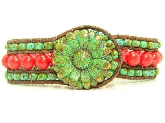 Red Jade Beaded Leather Wrap Cuff Bracelet, Green Picasso Seed Bead, Verdigris Sunflower, Summer Bracelet, 3 Row
