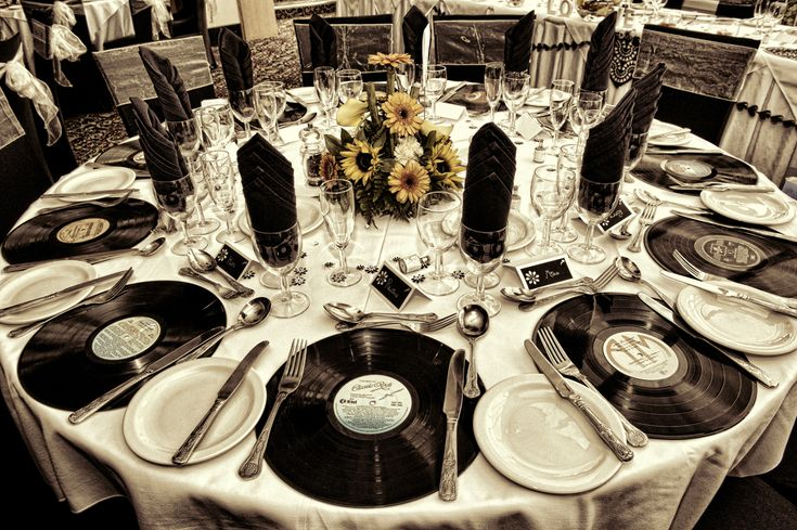 old vinyl records as place settings