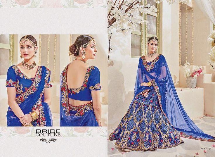 Bridal satin silk sari design indian latest wedding wear buy saree lehenga choli #DESIGNER #lehengacholi