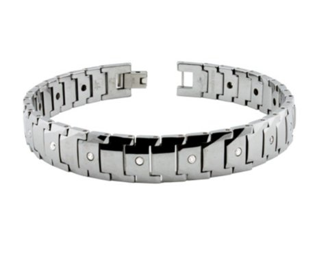 Geometric looks with CZ accents make this tungsten bracelet effortlessly cool yet dressy.