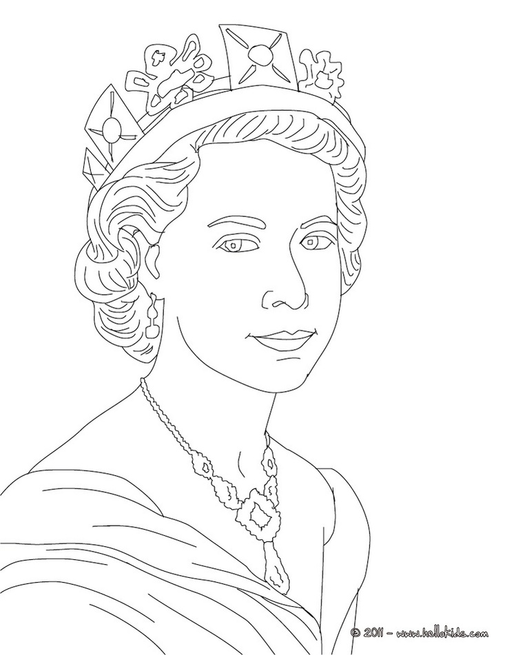 QUEEN ELIZABETH II Colouring Page