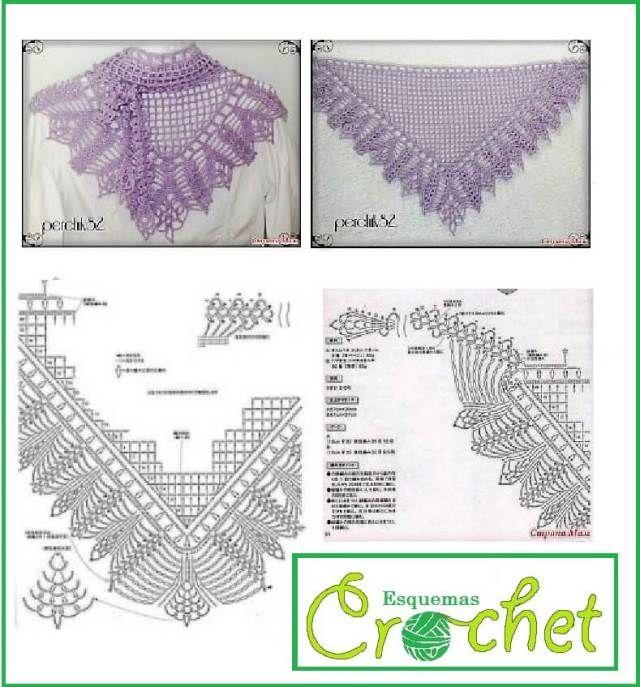 Esquema de Crochet para Chal: 5 Lindos esquemas
