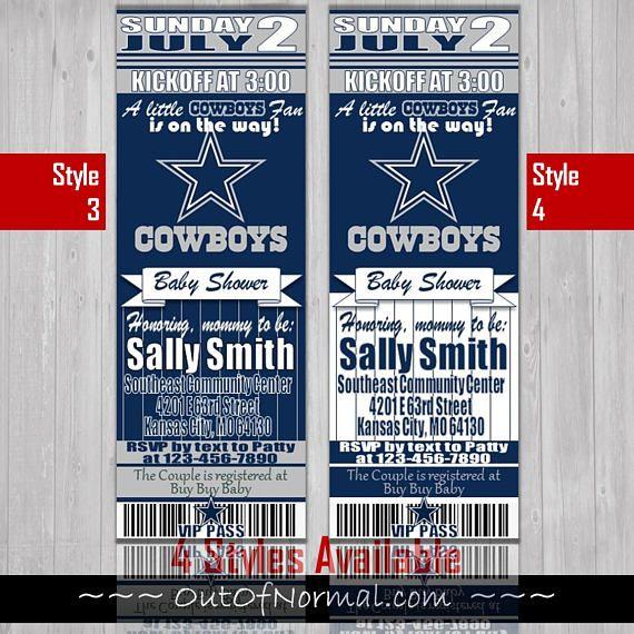 Dallas Cowboys Themed Baby Shower Invitation Tickets Super
