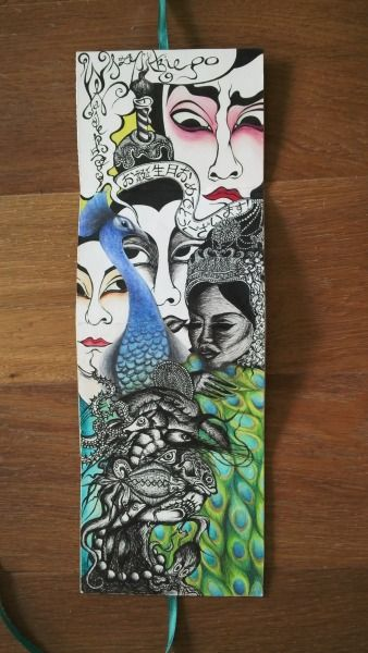 The place where Arcimboldo's imitator finally meets the stunning Indonesian dancer, a talkative peafowl and the team of cogitative Kabuki actors: new birthday card. Inspired by papel amate again (by chckn)
