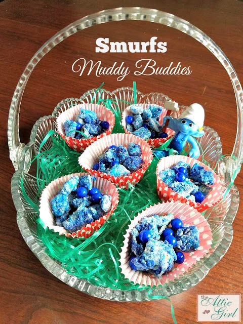 Make your own Smurfs: The Lost Village Muddy Buddies Plus Giveaway #sponsored #RWM #SmurfsMovie #recipes #muddybuddies #smurfs #food #snacks