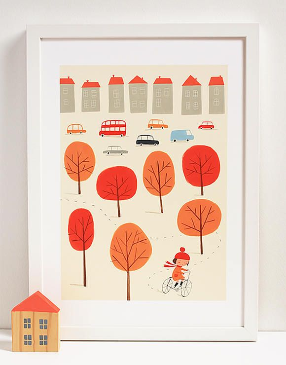 I so love the little wooden house!  Bicycle Autumn Story Print by Ekatarina Trukhan via Handmade Charlotte