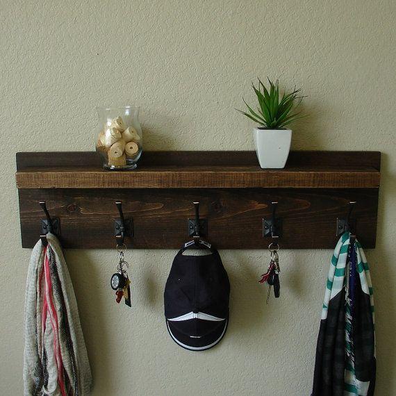 Claremont Coat Rack with Floating Shelf by KeoDecor on Etsy