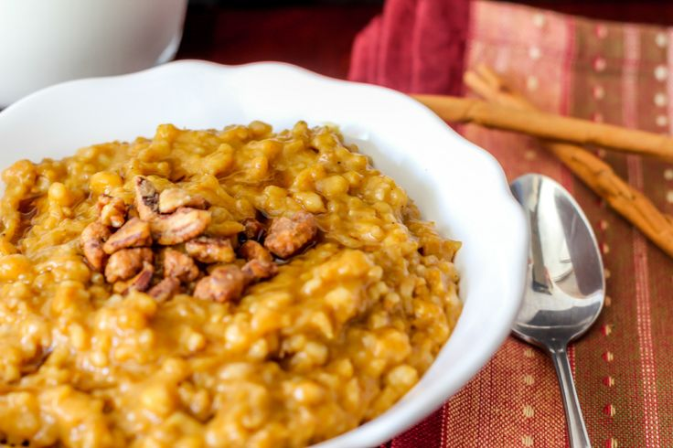 Overnight Pumpkin Pie Oatmeal in the Slow Cooker... Just made this overnight last night, didn't have pecans so I used almonds.. DELICIOUS.