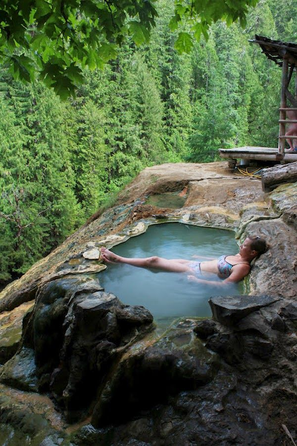 Umpqua Hot Springs And National Forest, Idleyld Park, OR (SW of Bend). Situated 150 feet over the North Umpqua River and close to Crater Lake National Park. Short but intense hike up. Read Yelp and Trip Advisor reviews - best to go in off-peak season. Additional info: http://traveloregon.com/see-do/recreation/snow-sports/hiking/umpqua-hot-springs-trail/
